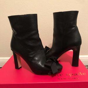 KateSpade keegan black glazed goat grosgrain boot
